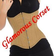 "Beige Cotton Underbust Corset Steel Boned Waist Training Tightlacing Size 18-40"""