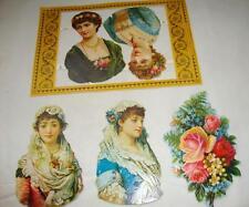 5 Lovely Pieces of Antique Victorian Scrap Reprints, Women & Roses, England