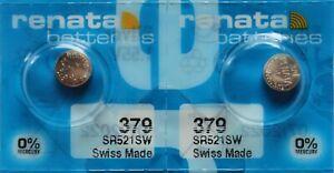 2 x Renata 379 V379 SR521SW SR63 AG0 SR63SW 1,55V Knopfzelle Uhr Batterien