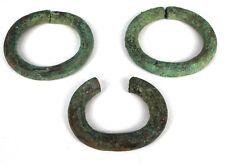 Art Africain - Lot de 3 Anciens Bracelets Monnaies Currencies Bronze de Fouille