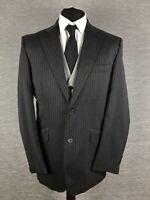 William Hunt Mens Blazer Jacket Size 40R Wool Grey Pin Stripe Savile Row