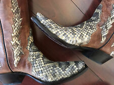Tip Top Black Jack Diamondback Rattle Snakeskin Leather Boots 8.5D Men's US