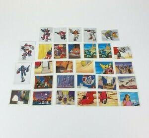27 x Vtg 1986 Panini Transformers Sticker Lot Including Optimus Prime & 2 Cards