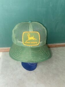 Vtg JOHN DEERE Snapback Trucker Hat All Full Mesh Patch Cap Louisville Mfg USA