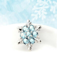 Sparkling Women 925 Silver Light Blue Aquamarine Snowflake Pendant Jewelry#ty