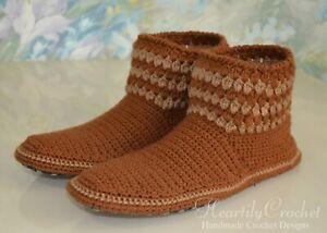 Handmade men's women's crochet slippers, wool winter boots, house shoes