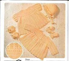 "Vintage Crochet Pattern 18"" 3/6 months bonnet bootees mittens dress cardigan"