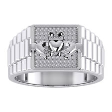 Bold 14k White Gold Mens Trinity Knot Band Irish Claddagh Ring