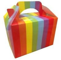 10 Rainbow Striped Childrens Kids Food Box Birthday Party Bag Gift Boxes
