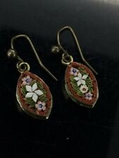 Victorian Micromosaic Earrings Small Dangling Costume Outstanding Red Flowers