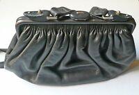 Borsa in pelle goffrata nera anni '60 vintage leather bag