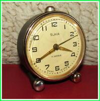 Modern Mechanical Alarm Clock Slava 11 Jewels Russian USSR Soviet 1980s #13321