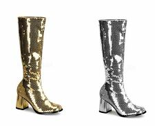 BORDELLO Spectacul-300SQ Sexy Heel Sequins Knee Boot large size 6-16