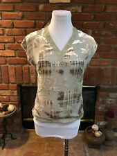 Emanuel Ungaro Paris Light Green Dressy Burnout Lace Silk Blend Shirt Top sz 6