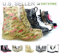Women Jelly Rain Boots Lace up Ankle height Flat Rubber Wellies Printed Shoes
