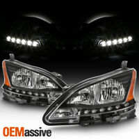 Fits 2013 2014 2015 Sentra Black LED DRL Headlights Complete Replacement Set
