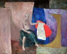 """Russischer Realist Expressionist Öl Leinwand """"Sitzender"""" 115 x 100 cm"""