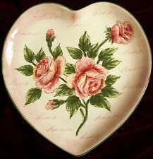 "New ""Amore Rose"" Heart Plate - Pink Roses, Pink Background, Green Rim 10.25"" T"
