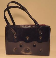 Vintage 1960s chic black studded faux patent leather handbag
