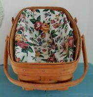Longaberger Medium Vegetable Basket with  Fabric Liner & Plastic Protector