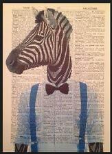 ZEBRA Vintage Dictionary Page Print Wall Art Picture Hipster Quirky Animal Blue