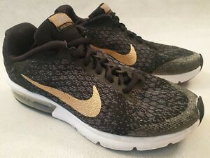 NIKE Air Max Sequent 2 Black Grey Unisex Trainers Gold Tick UK 5 EU 38 US 5.5