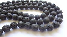 "14mm Round Black Lava Rock Gemstone Beads - 15"" Strand"