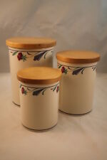 Lenox Poppies On Blue Set of 3 Canisters Small Med Lrg Red Flowers Discontinued