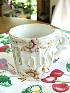Antique Porcelain Baby Cup-Made in Germany-Raised Lettering w/Gold Accent