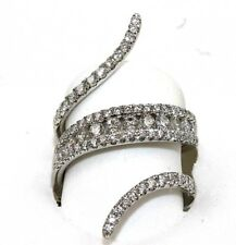 Bypass Round Diamond Cluster Pave Ring Band 18k White Gold 1.41Ct