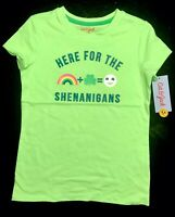 """Cat & Jack Girls St. Patrick's Day T-shirt """"Here For The Shenanigans"""" Size 6/6X"""