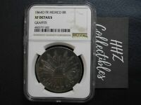 NGC Mexico 1864 8 Reales Oaxaca O FR Mint Silver Coin Scarce XF Details