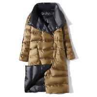 New Womens Reversible Long Button Jacket Down Puffer Maxi Women Long Winter Coat