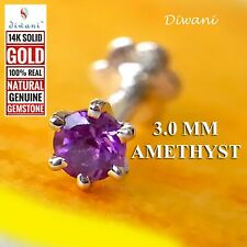 3.0mm 100% Natural Amethyst Nose Lip Labret Piercing Ring Pin Stud Screw 14kGold