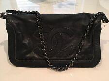 Black Chanel Lamb Skin Sac Pochette Handbag