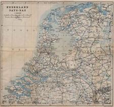 HOLLAND NEDERLAND PAYS-BAS General map. Netherlands kaart. BAEDEKER 1905