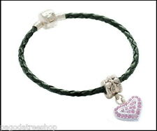 New Woven Leather Bracelet with Crystal Encrusted Heart Charm in Pink