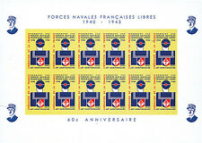 "FNFL43-03FND Sheetlet of 12 labels ""60 years Free French Naval Forces"" 2003"