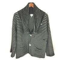 Armani Collezioni Black Gray Ribbed Knit Oversized Collar Cardigan Sweater Sz 10
