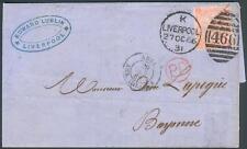 Großbritannien Brief mit Mi.-Nr.24 Pl.-Nr.8 als EF. Liverpool-Bayonne/Frankreich