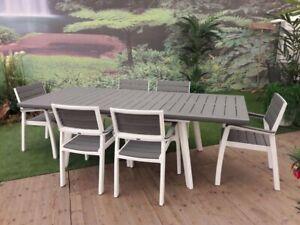 Set Harmony Resina tavolo allungabile e 6 poltrone finto legno