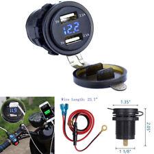 Motorrad Dual USB Ladegerät Blau LED Digitalanzeige Voltmeter Überladungsschutz