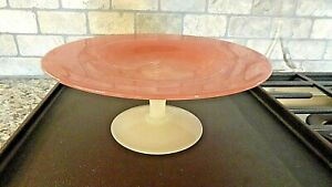 """STEUBEN Rosaline & Alabaster Glass Footed COMPOTE Shape 2028 8"""" Tazza"""