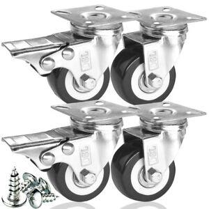 4 x Heavy Duty 50mm 240KG PU Swivel Castor Wheel Furniture Trolley Caster Rubber