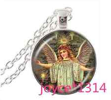 Vintage angel Cabochon Tibetan silver Glass Chain Pendant Necklace #907