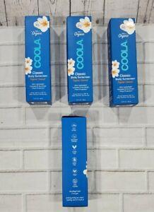LOT OF 4 COOLA 70% Organic Classic Body Sunscreen SPF 30 5oz Tropical Coconut