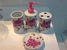 Stylish Modern Ceramic Bathroom Set x 4 Pieces Soap Dispenser Tooth Brush Holder