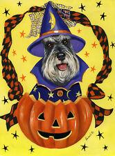"""Precious Pets Garden Flag - Schnauzer Halloweenie 12"""" x 18"""" ~ Charity!"""