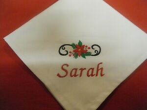 PERSONALISED CHRISTMAS POINSETTIA NAPKINS -  MATERIAL