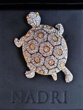 Ava Nadri Crystal Turtle Brooch in Brass with Rhodium and 18K gold plate in box